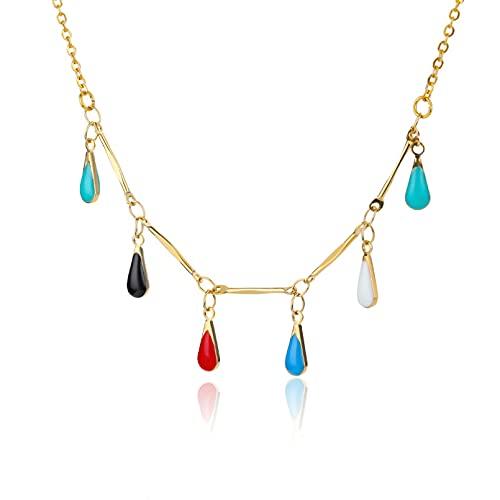 QiuYueShangMao Gargantilla de Piedra de ópalo Multicolor, Collares para Mujer, Cadena Colorida de Acero Inoxidable, Collar de Gota de Agua, joyería de Playa Bohemia Collar de la Amistad