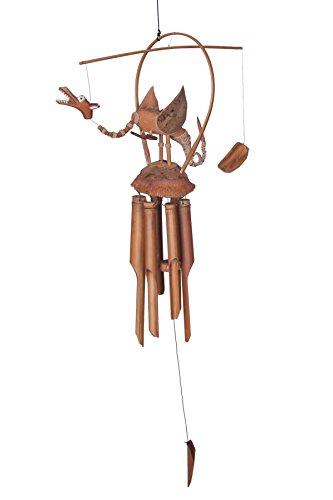 Ca. 80cm Drachen Windspiel Klangspiel Garten Wetterfest Handarbeit Bambus Kokosnuss Holz Bambusrohr