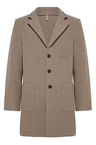 AND CAMICIE - Abrigo para hombre de pura lana virgen, con bolsillos de parche   Abrigo para hombre color camel, ajuste cómodo, ropa de moda, para cualquier ocasión