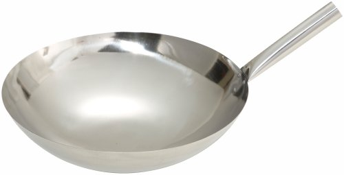 Winco Stainless Steel Wok with Riveted Joint Handle, 16-Inch