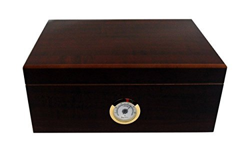 Humidor hold 50 cigars brass hygrometer