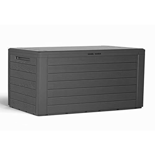 Mojawo Kunststoff Auflagenbox Kissenbox Gartenbox Gartentruhe für Polsterauflagen Kunststoff Anthrazit wasserdicht 280 Liter