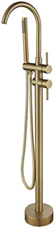 DFRQJHQGH Bad Badewanne Wasserhahn + Handbrause Freistehendes Gebürstetes Gold Bathtub Mischbatterien Bodenmontage 3 Farben Für Wahl