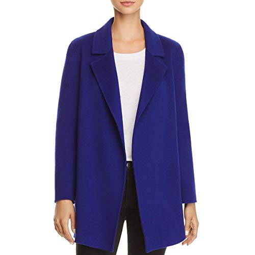 Theory Womens Clairene Wool Open Front Pea Coat Blue S
