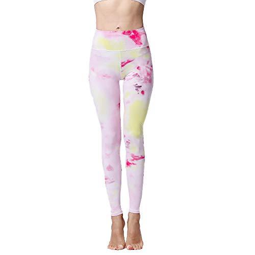 ZEIYUQI Sportgazas voor dames, lange yogabroek met hoge tailleband, panty met bonte print