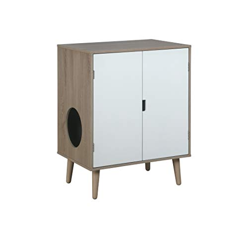 Penn-Plax Cat Walk Litter Cabinet – Elegant Modern Design with Double French Doors, Grey Wood Grain with White Doors (CATFF20)