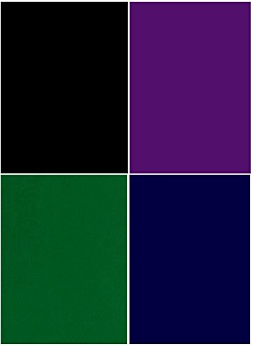 V44, 4 Colours Velvet Fabric Sticker, Black-Violet-Green-Blue, 4 Sheets (8.3' x 11.7'), self-Adhesive, Durable and Water Resistant, Multi-Purpose, Ideal for Art & Craft Making