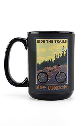Lantern Press New London, Connecticut - Ride The Trails - Mountain Bike Scene 103120 (15oz Black Ceramic Mug - Dishwasher and Microwave Safe)