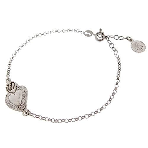 Joyas Aurum - Pulsera de plata para hombre y mujer con sagrado corazón