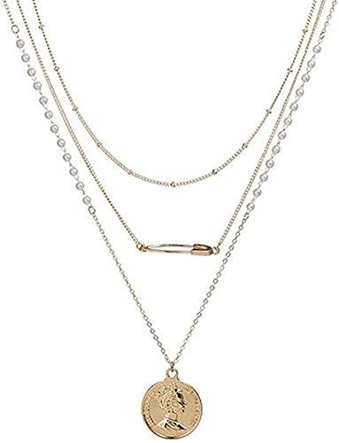 WYDSFWL Collar Queen Gold Color Lentejuelas Collares Largos estratificados para Mujeres Bohemia Cadena Cho Collar Perla Joyería Regalos