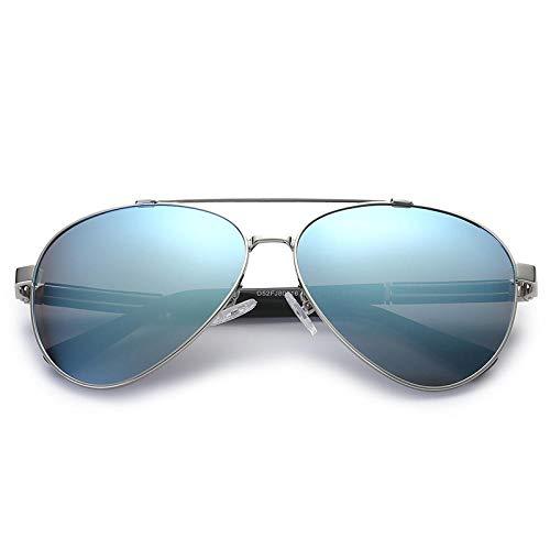 Gosunfly Gafas para hombre Gafas de sol polarizadas de estilo europeo y americano Gafas de sol de sombra anti-retro-Marco plateado Tabletas azul hielo