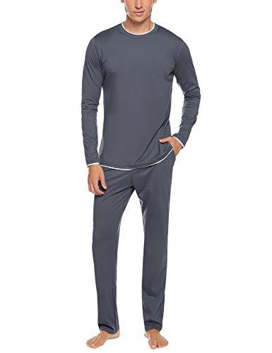Hawiton Herren Zweiteiliger Schlafanzug lang Baumwolle Pyjama Set Nachtwäsche Langarm Hausanzug Sleepwear Dunkelblau+grau S