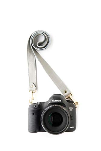 Dove Designer Fotostrap | Gray Genuine Leather Camera Shoulder Neck Strap | Quick Release | for Nikon, Canon, Sony, Pentax, Leica, Olympus DSLR, Mirrorless | Best Photographer Gifts | Gives Back