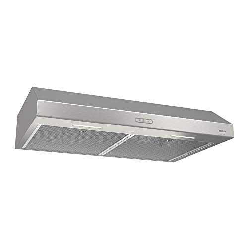 Broan-NuTone BCDF130SS Glacier Convertible Range Hood with Light Exhaust Fan for Under Cabinet, 1.2 Sones, 300 CFM, 30-Inch, Stainless Steel