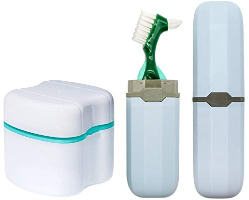 Denture Case, Denture Cups Bath, Toothbrush with hard denture and portable toothbrush box, Dentures Container with Basket Denture Holder for Travel (Green)