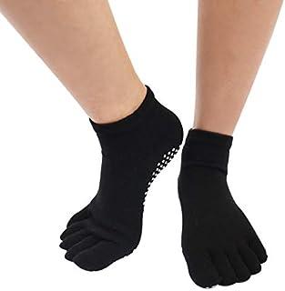 SGJFZD 3pairs/Set Cotton Solid Color Yoga Socks Ladies Fingerless Professional Non-Slip Peep-Toe Yoga Socks Five-Finger Socks, Color Randomly Sent (Color : A Random)