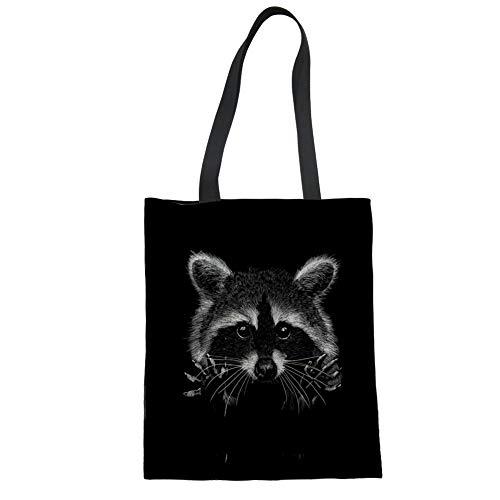 Nopersonality Bolsas de lona de mapache negro para mujeres, adolescentes, niñas, hombro, compras, bolsa de comestibles plegable ecológica