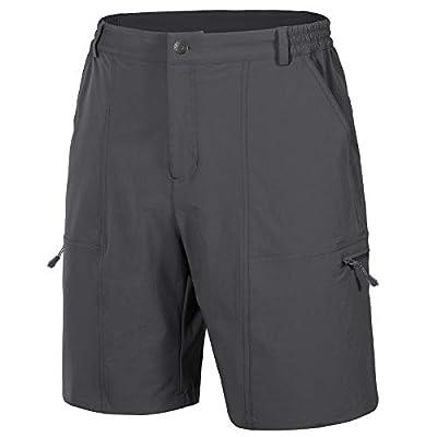 Libin Men's Outdoor Hiking Shorts Lightweight Stretch Quick Dry Cargo Shorts UPF 50 Travel Fishing Golf Shorts, Grey M