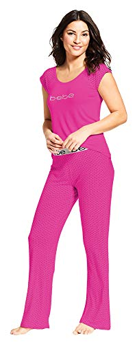 bebe Womens Short Sleeve Top and Long Pajama Pants Sleep Set Rose Violet Large