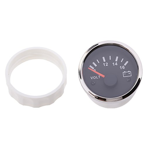 FLAMEER Auto Voltmeter Messgerät Weiß 8 16 Volt Spannungsmessgerät Tester 52mm