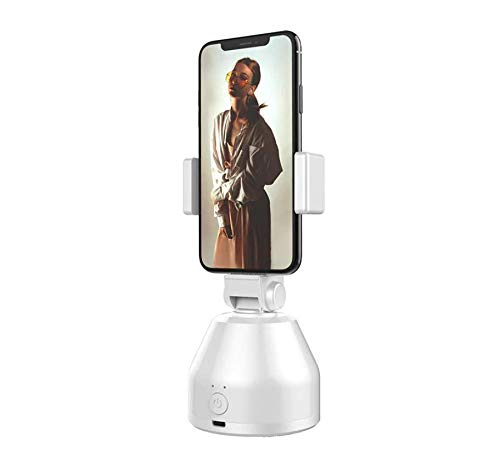 DAMAX-A Smart AI Persönlicher Roboter Kameramann Gimbal 360 ° Rotation Ständer Selfie-Stick Stabilisator für Smartphone Artefakt mit Sport Inception, Gesichtsobjekt Tracking (weiß)