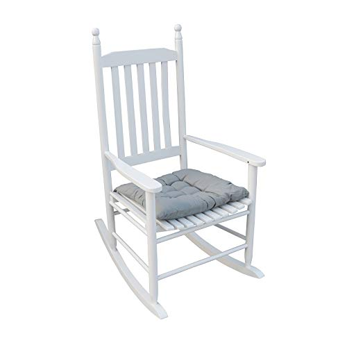 HomVent Wood Rocking Chair, 280 Lbs Heavy Duty Rocking Rocker Chair, Backyard and Patio Porch Rocker with Wide Seat and Armrest for Outdoor& Indoor Use (White)