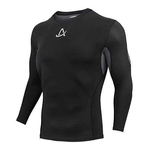AMZSPORT Mens Sports Compression Shirt Long Sleeve T-Shirt Cool Dry Base Layer Fitness Tight Top, Black, L