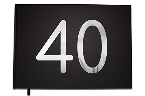 UTTSCHEID Livre d'or 40 Ans - Anniversaire, Mariage, Retraite - Lettres chromées -100 Pages - Qualité Premium Noir Carbone
