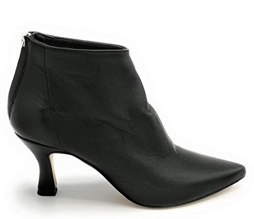 Ovye AT480 Stiefelette Nappaleder Schwarz Reißverschluss hinten Absatzhöhe 8 cm W - Schuhgröße 40 EU Farbe Schwarz