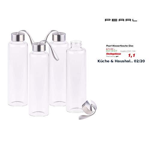 PEARL Borosilikat-Glasflaschen: 4er-Set Trinkflaschen aus Borosilikat-Glas, 550 ml, spülmaschinenfest (Flasche mit Schraubverschluss)