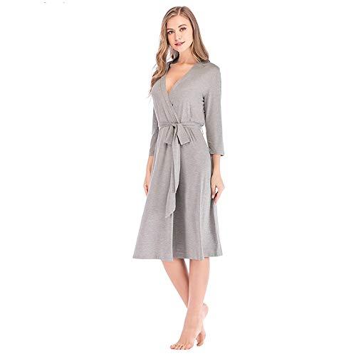 Pyjama Damen Nachthemd Schlafanzug Frauen Robe Anzug Braut Hochzeit Kimono Bademantel Kleid Sexy Elegant Nachthemd Lady Casual Tägliches Schlafkleid M Greyrobe
