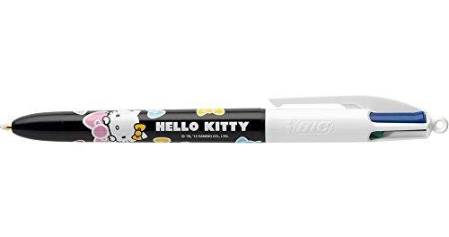 Bic - Lote de 3 bolígrafos de punta redonda 4 colores, diseño de hello kitty talla pte moy. negro, azul, verde y rojo