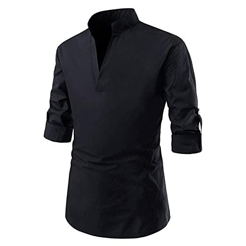 BIBOKAOKE Herren Langarmhemd V-Ausschnitt Einfarbig Langarmshirt Regular Fit Longsleeve Stehkragen Freizeithemd Langärmeliges Sportbekleidung Basic Business ArbeitsHemd Sweatshirt Longshirt