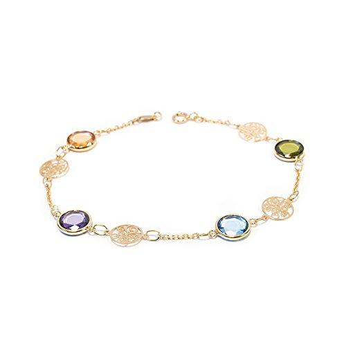 Monde Petit G1231PU - Pulsera de Niña o mujer oro 18 kts. calados y piedras colores