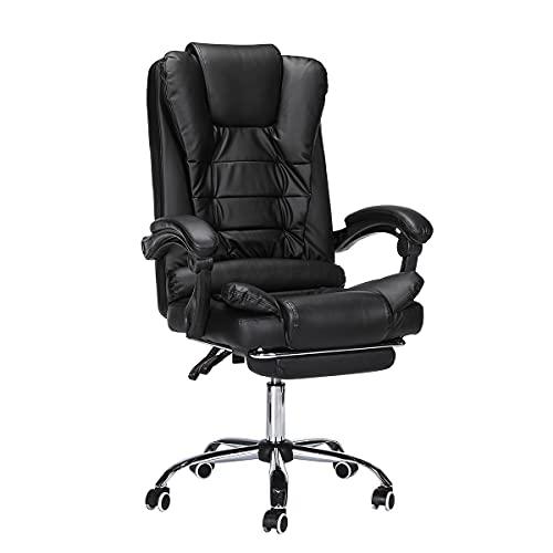 Geepro Sedia da Ufficio ergonomica, Sedia da scrivania con poggiapiedi, schienale alto, poggiatesta e cuscino, sedia ergonomica inclinabile a 135 gradi, Poltrona Portata massima 150 kg, Nero