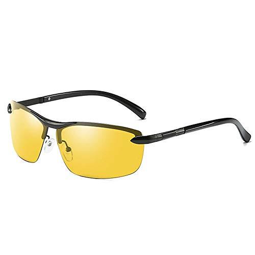 DKee Gafas de Sol Las Gafas De Sol UV400 Antideslumbrantes UV400 De Metal del Medio Marco del Metal Cambian Las Gafas De Sol De Conducción De Los Hombres Grises/Negros (Color : Black)