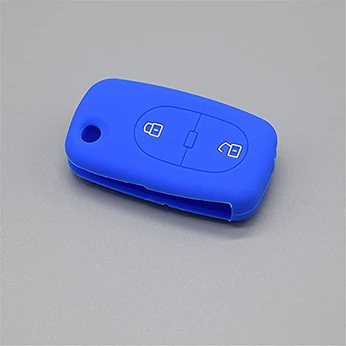 HJPOQZ Llavero De 2 Botones con Control Remoto De Goma, Carcasa Protectora De Silicona para Llave De Coche, para Audi A2 A3 A4 A6 A8 TTAzul