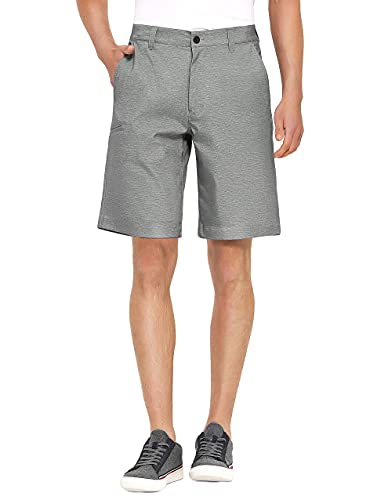 PULI Golf Shorts for Men Stretch Casual Chino Hybrid Dress Flat Front Lightweight Quick Dry with Pockets Grey 36
