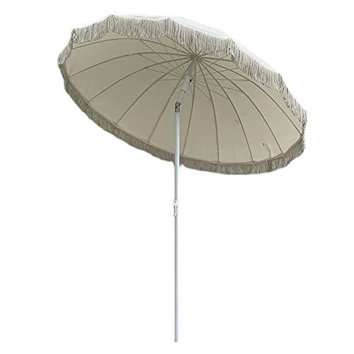 Sombrilla De Exterior con Borlas Vintage, Parasol Sombrilla De Playa, Sombrilla De Jardín Inclinable, Protección Solar, Ligero, Muy Adecuado para La Playa, Camping, Piscina, Jardín