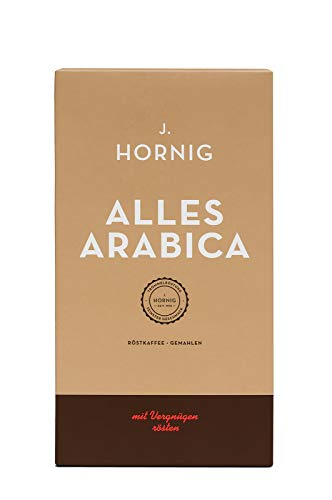 J. Hornig Kaffee gemahlen, Alles Arabica, 500g, 100% Arabica Bohnen, perfekt für Filterkaffee, Frenchpress und Mokkakanne