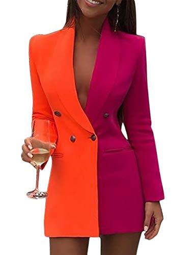 Minetom Vestiti Eleganti Corti Vestitini Blazer Ragazze Manica Lunga con Scollo A V Abito Doppio Petto Abiti Tubino Casual Vestito Tailleur Colore A Contrasto Mini Dress Arancione 44