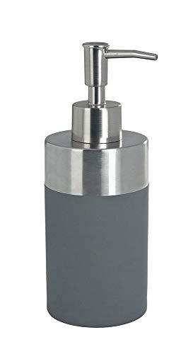 WENKO Seifenspender Creta Grey - Flüssigseifen-Spender, Spülmittel-Spender Fassungsvermögen: 0.31 l, Polystyrol, 8.2 x 17.6 x 7 cm, Grau