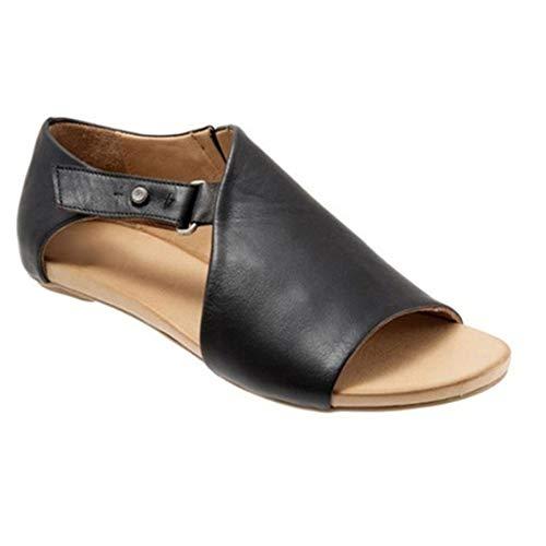 BTKD Sandalias Mujer Verano 2020 Punta Abierta Cuero Fondo Plano Zapatos Bohemias Romanas Hebilla Zapatillas de Tacón Bajo/Boca de Pescado/Elegante/de Moda,Negro,40