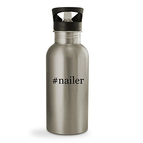 #nailer - 20oz Hashtag Sturdy Stainless Steel Water Bottle, Silver
