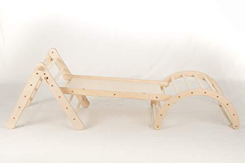 Zickenling Set verstellbares Kletterdreieck mit Rutsche und Bogen | Indoor Klettergerüst Kinder ab 10 Monate | 100% Öko Produkt