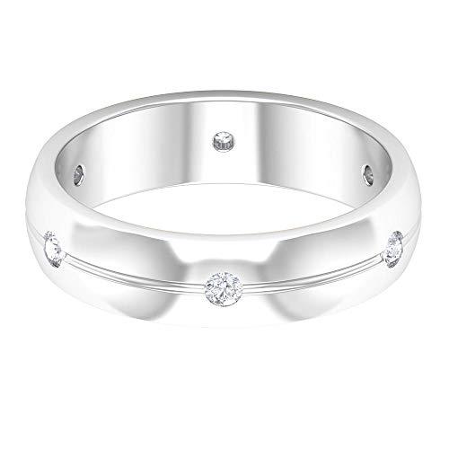 Anillo de boda unisex, anillo de diamante redondo HI-SI, anillo de aniversario de pareja, anillo de compromiso para hombre, anillo de pareja a juego, anillo de promesa, 14K Oro blanco, Size:EU 70