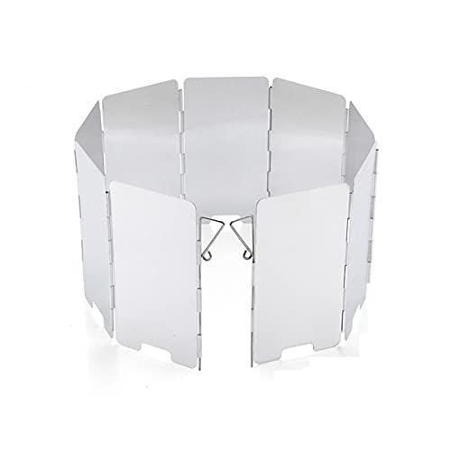 9 platos placas de camping plegable Estufa de parabrisas Pantalla de viento portátil de aluminio Escudo de gas de aluminio Picnic al aire libre cortavientos con una bolsa de cordón para el equipo de p