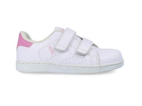 Zapatilla Competición Blanco-Rosa Velcro Colegial - Talla 30