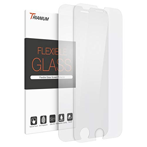 Trianium 2 Pack Screen Protector Designed for Apple iPhone SE 2020 2ND Generation, iPhone 8, iPhone 7 0.2mm Fiber Flexible Glass Screen Protector Case Friendly - Pack of 2 (Upgraded)