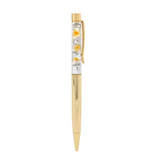ハーバリウム ボールペン 替え芯2本付 ケース入り プレゼント ギフト お祝い 誕生日 女性 (イエローゴールド)